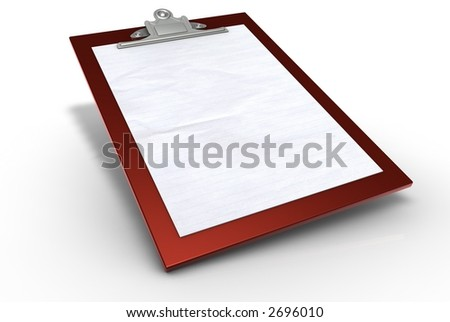 Red Clipboard with Paper - stock photo