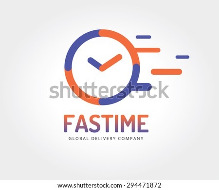 Red clock logo icon isolated. Watch object, time and office symbol. Time logo, Watch logo. Clock logo. Clock icon. Clock logo. Clock time icon. Timer clock isolated. Clock silhouette - stock photo