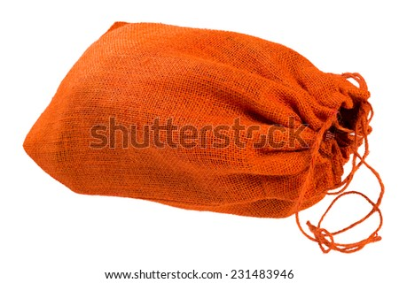 Red Cloth bag with drawstrings. Isolated on white background