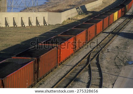 Red coal cars in East St. Louis, Missouri - stock photo