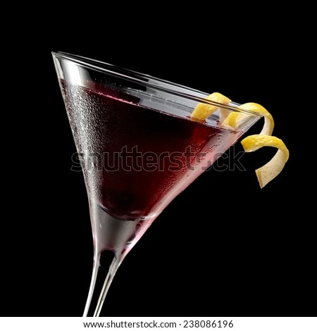 Red cocktail, close up - stock photo