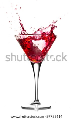 Red cocktail splash on white background. - stock photo
