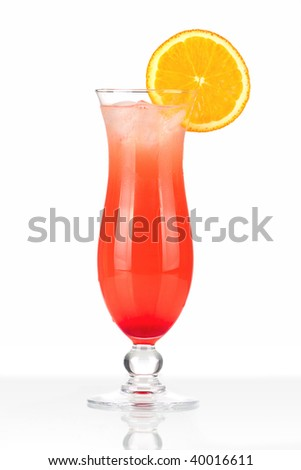 Red cocktail with ice and orange slice isolated on white background - stock photo
