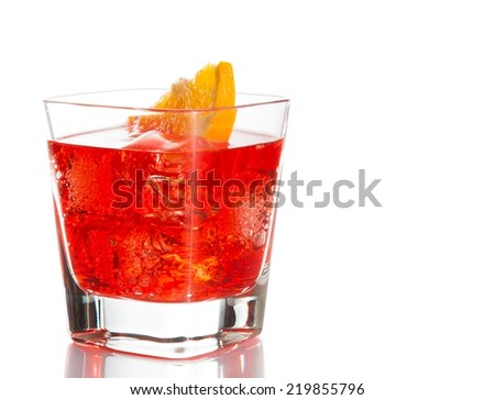 red cocktail with orange slice isolated on white background with space for text - stock photo