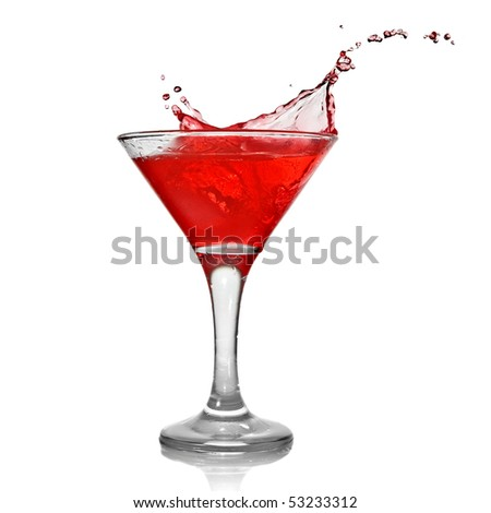 Red cocktail with splash isolated on white - stock photo