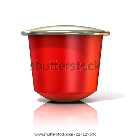 Red coffee capsule. 3D render, isolated on white background. Front view - stock photo