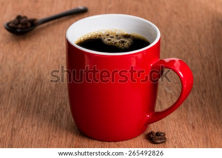 red coffee cup  - stock photo