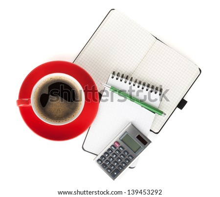 Red coffee cup and office supplies. View from above. Isolated on white background - stock photo
