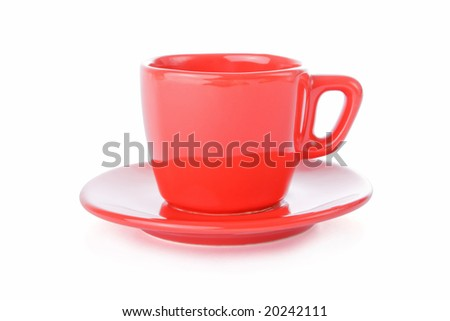 Red coffee cup and saucer isolated on white background