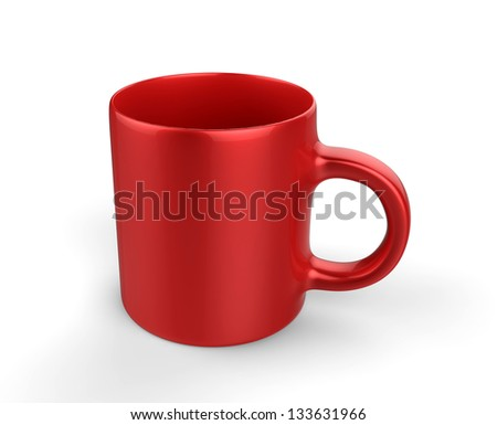 red coffee cup isolated