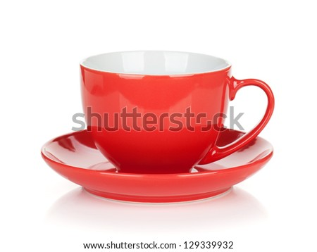 Red coffee cup. Isolated on white background - stock photo