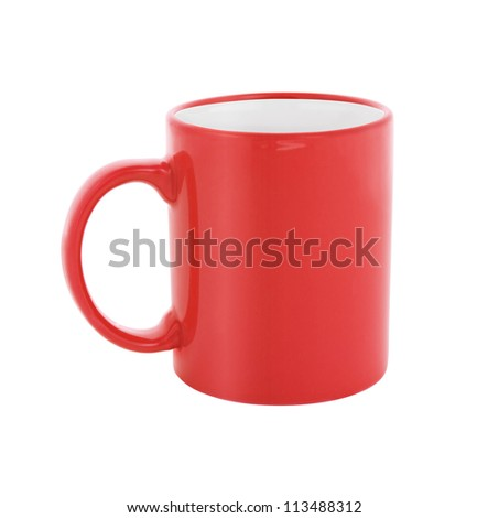 red coffee cup isolated with clipping path included - stock photo