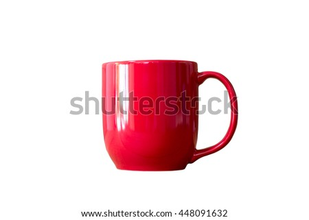 Red coffee cup on white background ,Coffee mug