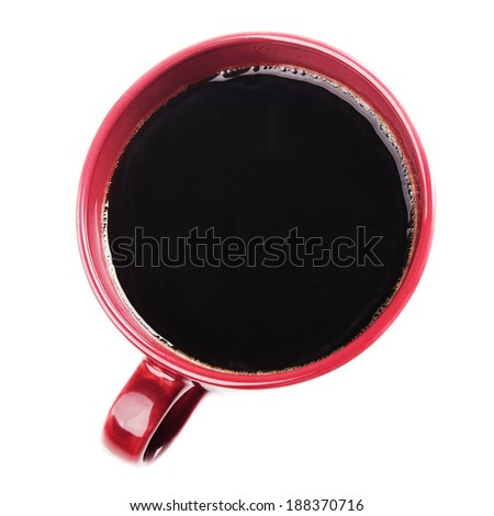 red coffee cup.top view - stock photo