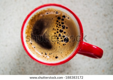 red coffee cup. top view - stock photo