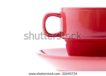 Red Coffee Mug and Plate - stock photo