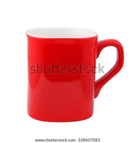 Red coffee mug on white background - stock photo