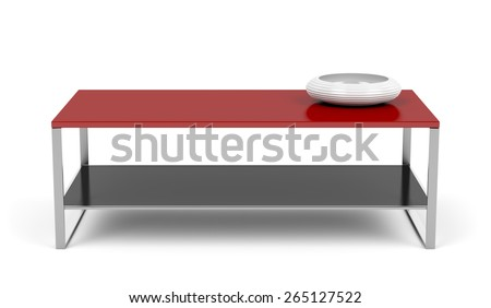 Red coffee table on white background - stock photo