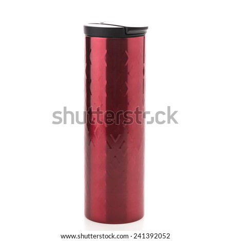 Red coffee tumbler thermos isolated on white background - stock photo