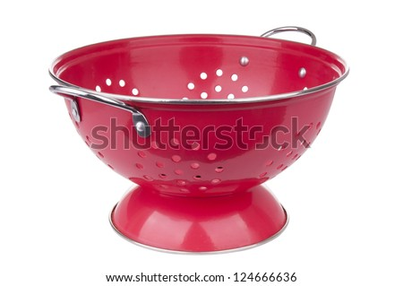 Red colander in full focus isolated on white - stock photo