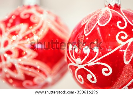 Red color balls for christmas decorations - stock photo