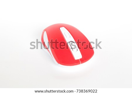 Red Color Computer Mouse On White Stock Photo (Royalty Free ...