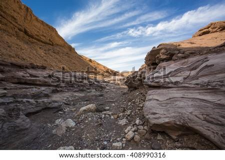 Red Colored Canyon on Sinai Peninsula, Egypt - stock photo