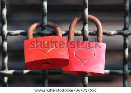 red colored love locks - stock photo