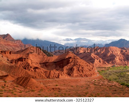 Red colored mountains near Cafayate, Argentina - stock photo