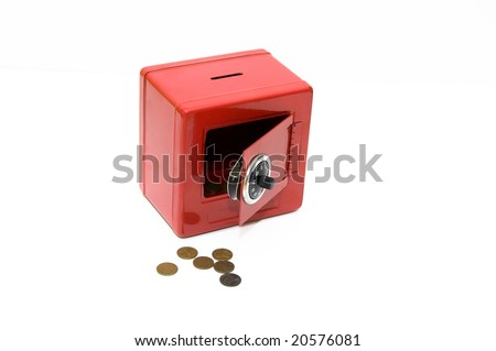 Red combination savings bank with pennies on a white background - stock photo