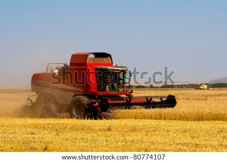 red combine harvesting on wheat field - stock photo