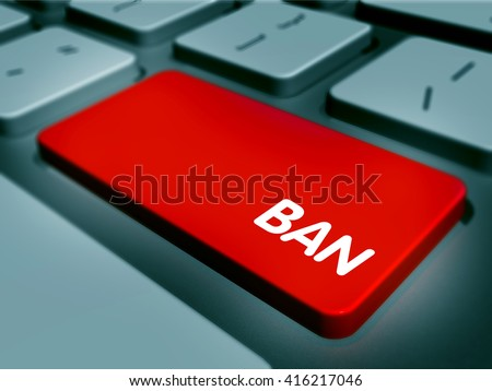 "Red computer keyboard key labeled ""BAN"""