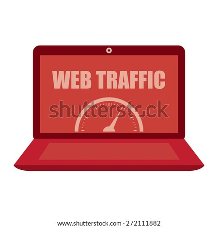 Red Computer Laptop With Web Traffic Label, Sign or Icon Isolated on White Background - stock photo