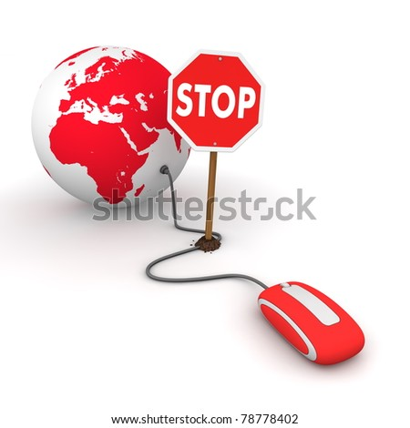 red computer mouse is connected to a red globe - surfing and browsing is blocked by a stop sign that cuts the cable - stock photo