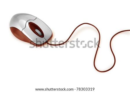 red computer mouse isolated on white - stock photo