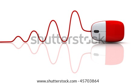 red computer mouse with cable isolated on white background - stock photo
