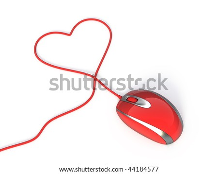 Red computer mouse with heart shaped wire - stock photo