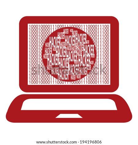 Red Computer Notebook or Laptop With Binary Number and Hacker Text on Screen Isolated on White Background - stock photo