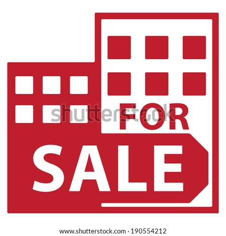 Red Condominium, Apartment, Building or Office For Sale Isolated on White Background  - stock photo