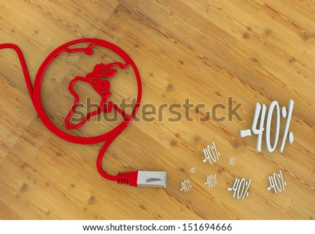 Red  connected special offer 3d graphic with -40 discount symbol on network to home office desk