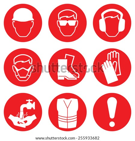 Red Construction Industry Health and Safety Icons isolated on white background - stock photo