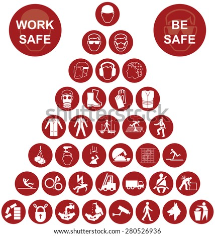 Red construction manufacturing and engineering health and safety related pyramid icon collection isolated on white background with work safe message - stock photo