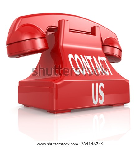 Red contact us phone - stock photo