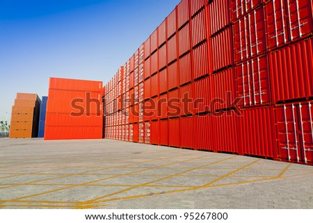 Red container blocks - stock photo