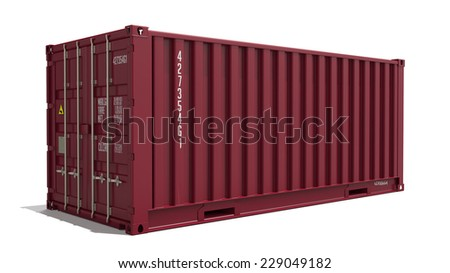 Red Container on Isolated White Background. Industrial Concept. - stock photo