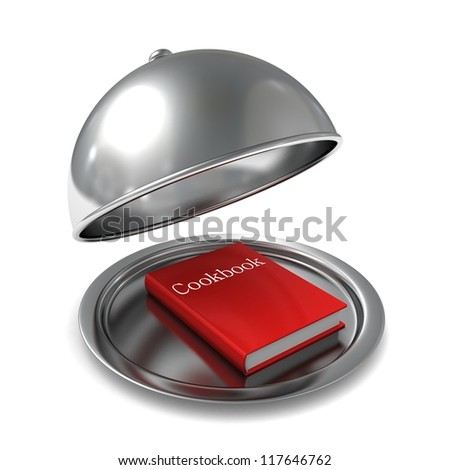 red cookbook on the opened silver tray