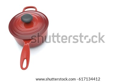 Red cooking pan with the handle stands on the left side of the  white floor background.