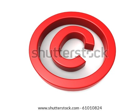 Red copyright symbol - stock photo