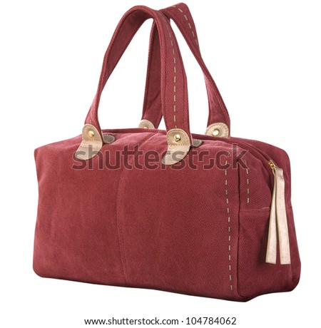 red corduroy handbag isolated on white background