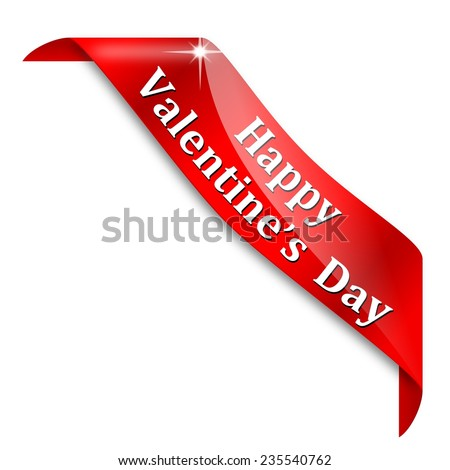 Red corner with the words Happy Valentine's day - illustration - stock photo